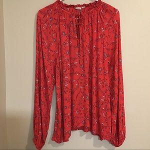 Gap Long Sleeve Floral Print Gathered Tie Neckline